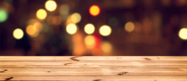 wood table top on bokeh background
